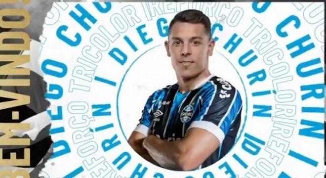 Matador na área! Grêmio anuncia a chegada do atacante Diego Churín