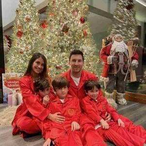 Messi, Antonella e filhos no Natal