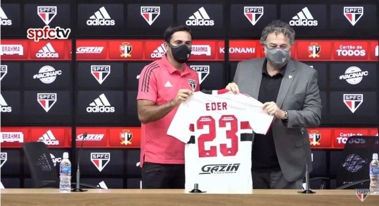 Eder utilizará a camisa 23 em sua passagem pelo São Paulo