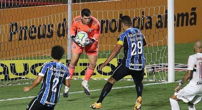 Tiago Volpi foi pouco exigido no empate sem gols entre São Paulo x Grêmio