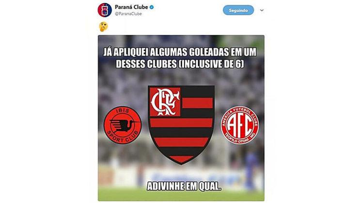 Antes do confronto com o Flamengo pela Primeira Liga em 2017, o Paraná Clube relembrou de uma goleada sobre o Rubro-Negro em 2002 por 6 a 2 para provocar o clube carioca antes do confronto