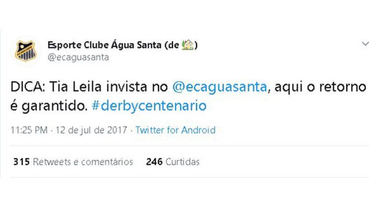 Em 2016, o Água Santa surpreendeu ao golear o Palmeiras por 4 a 1 no Campeonato Paulista. Através das redes sociais, o clube provocou a patrocinadora do clube alviverde e afirmou que ela deveria investir no clube deles