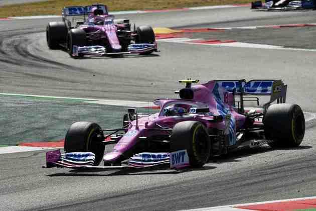 Lance Stroll e Sergio Pérez em ação durante GP da EspanhaLance Stroll fez boa corrida e terminou na quarta posição