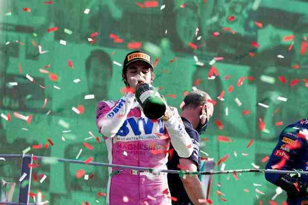 Lance Stroll relargou em segundo, mas perdeu posições e ficou em terceiro no GP da Itália