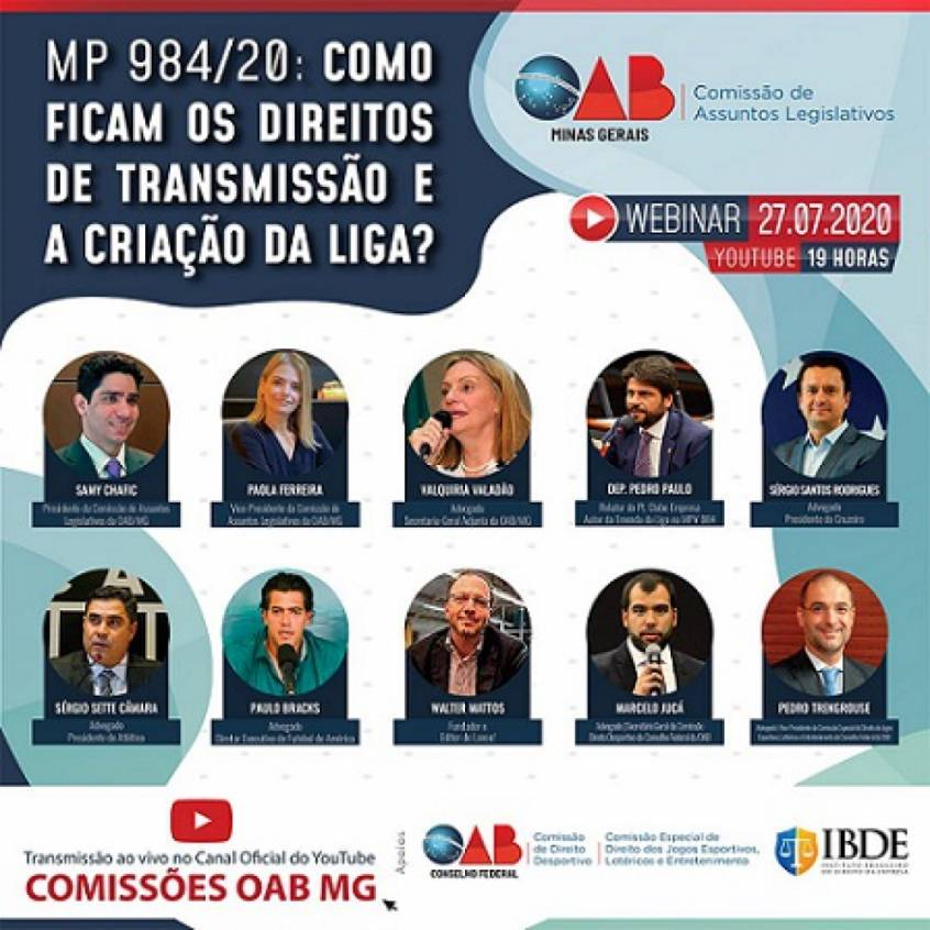 Evento terá presença de deputados e representantes de clubes no webinar da OAB-MG