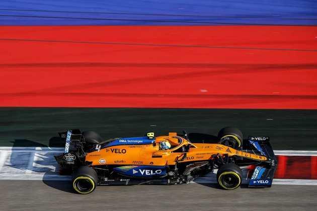 Lando Norris andou bem, mas ficou 1s3 atrás do líder Valtteri Bottas