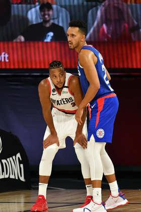 Landry Shamet (Los Angeles Clippers) 4,0 - Titular em boa parte da temporada, Shamet atuou por somente oito minutos e não registrou nenhum ponto