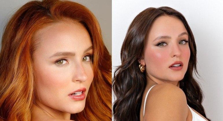 Larissa Manoela antes e depois de mudar a cor dos cabelos