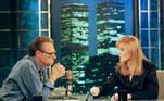 Sarah Ferguson, duquesa de York, fala com Larry King durante uma entrevista. Sarah apareceu no programa Larry King Live na rede CNN em Nova York em novembro de 1997