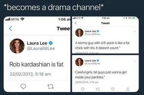 Alguns dos tuítes de Laura que foram resgatados