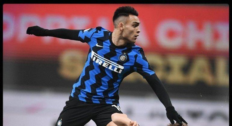 Lautaro, no momento do seu tento, Inter 1 X 0
