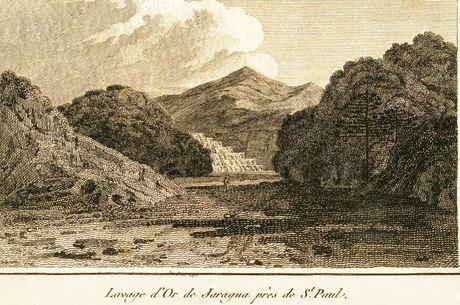 A gravura mostra uma operação de extração de ouro em Itapecerica da Serra, perto da capital paulistana.