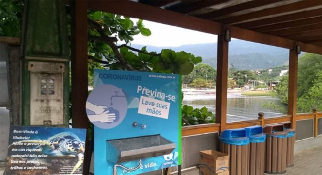 Sabesp instalou lavatório público em Ilhabela para conter coronavírus