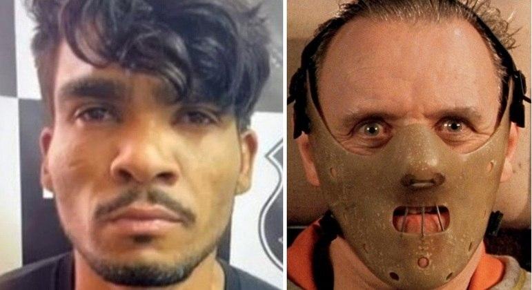 Lázaro Barbosa e o personagem Hannibal Lecter