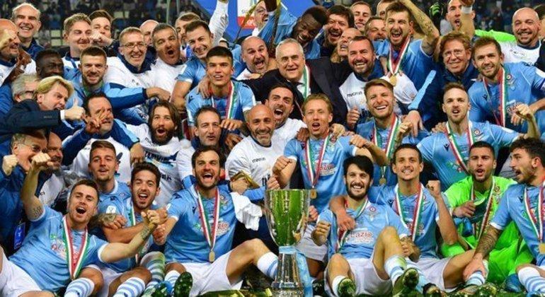 A celebração da Lazio, em Riyad, na última edição da Supercopa