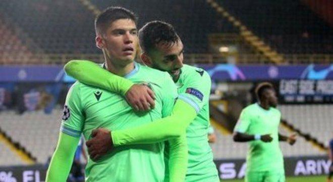 """Lazio, o abraço a Correa, o autoir do tento da """"Águia"""""""