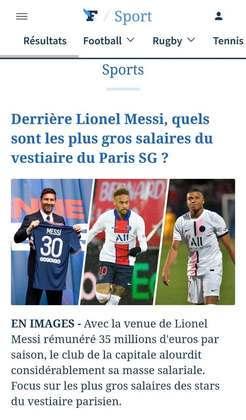 Le Figaro comenta sobre a questão salarial do Paris Saint-Germain com Messi, Neymar e Mbappé