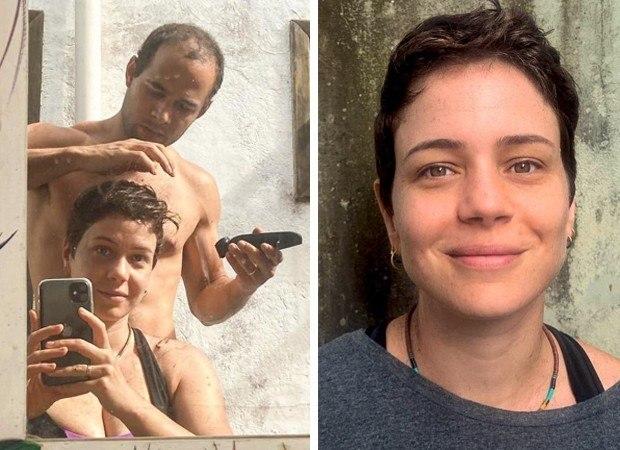 Leandra contou com ajuda do namorado para cortar os cabelos