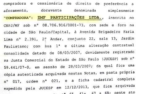 Escritura mostra também a compradora, ZMF Participações, empresa dos irmãos Batista