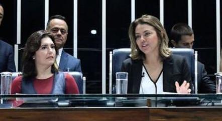 Na imagem, Simone Tebet e Leila Barros