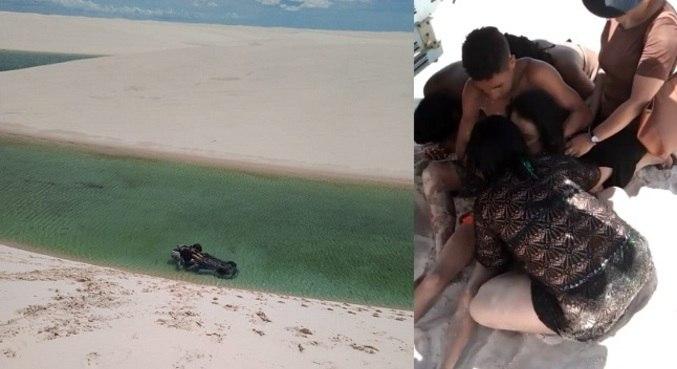 Automóvel capotou e caiu em lagoa em Barreirinhas (MA)