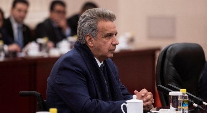 Presidente do Equador, Lenín Moreno, durante reunião em Pequim