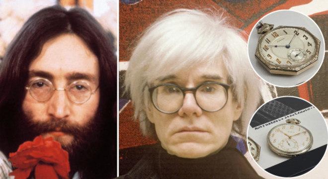 Lenon e Warhol e seus respectivos relógios