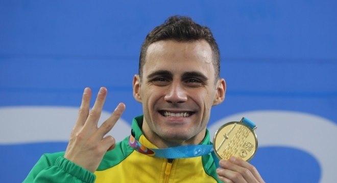 Leo de Deus foi ouro na prova dos 200 m borboleta pela 3ª vez em Pans