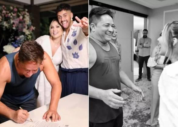Em março deste ano, Leonardo surpreendeu ao aparecer de regata no casamento do filho, Zé Felipe, com a youtuberVirginia Fonseca. No Instagram, a influenciadora ainda brincou com a situação e o chamou de