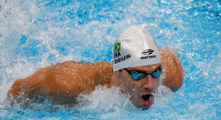 Leonardo de Deus de Brasil está na final dos 200m borboleta, nos Jogos de Tóquio