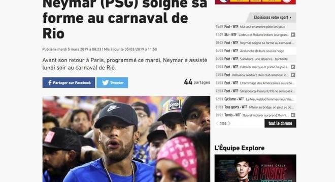 """""""Neymar recupera sua forma no Carnaval."""" Ácida ironia do L'Equipe"""