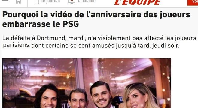 """O L'Equipe vai direto no ponto. """"Vergonha para o PSG"""""""