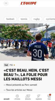 L'Equipe destaca chegada de Lionel Messi com um torcedor vestindo a camisa do novo ídolo