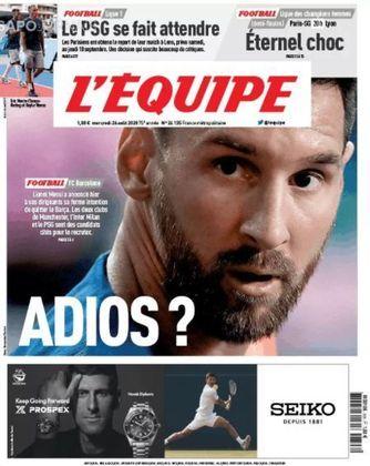 L'Équipe (França) – 'Adeus?'. Argentino anunciou seu desejo de sair à diretoria e, entre os clubes que desejam seu futebol, estão PSG, dois clubes de Manchester e Milan.