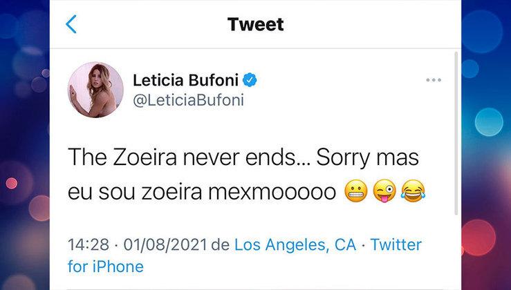 Leticia continuou interagindo com seus seguidores, no clima da zoeira