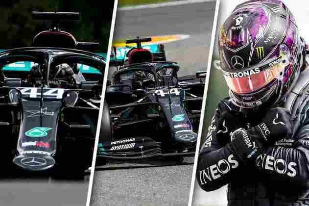 Lewis Hamilton dominou e homenageou Chadwick Boseman após a pole (Arte: Rodrigo Berton)
