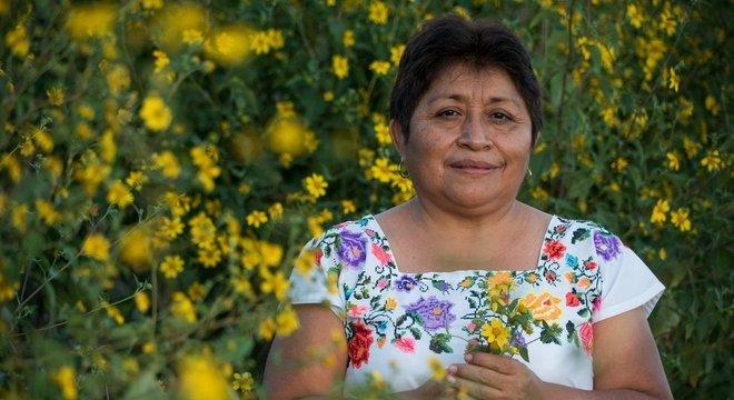 Leydy Pech, de 55 anos, sustenta sua família através da apicultura