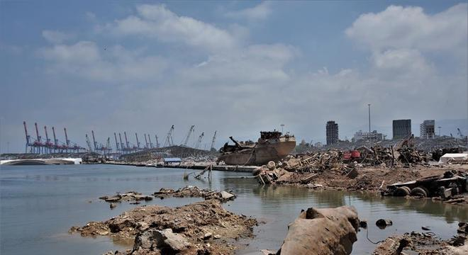 Local onde aconteceu a explosão do dia 4, no porto de Beirute, Líbano