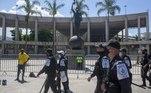 A PM destacou um efetivo para acompanhar a movimentação das torcidas no entorno do estádio