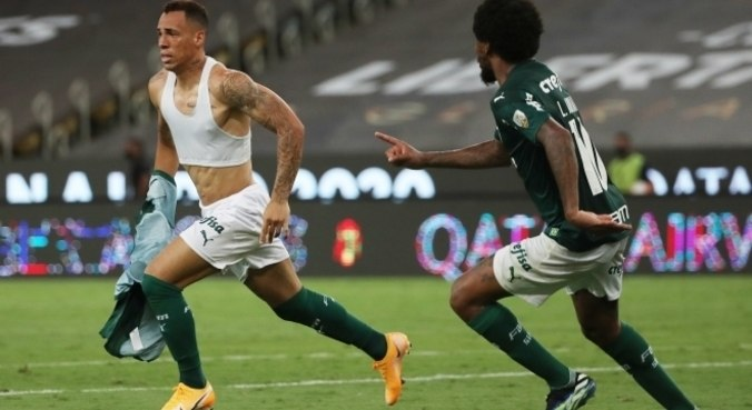 Breno Lopes faz o gol do título da Libertadores para o Palmeiras, no Maracanã