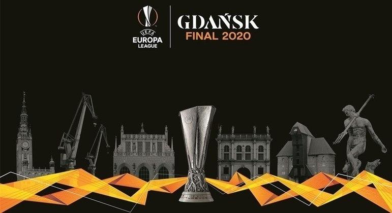 Um poster da decisão da Liga Europa em Gdansk, na Polônia