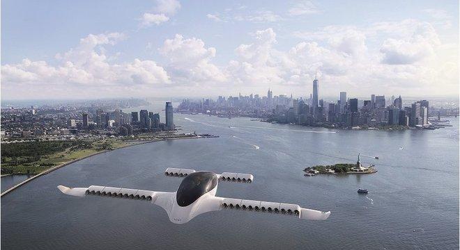 lustração de um avião Lilium voando perto de Nova York