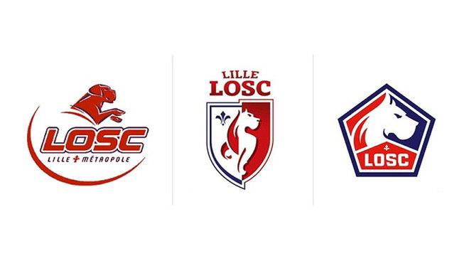 """Lille - O Lille passou por três transformações na última década. A primeira troca do escudo veio em 2011. As iniciais do clube ganharam o espaço superior do símbolo. e o mascote do time foi redesenhado. Em 2019, o azul ganhou destaque no lado direito do novo escudo. Novamente, o mascote foi repensado e agora apenas as siglas """"LOSC"""" fazem parte do texto"""