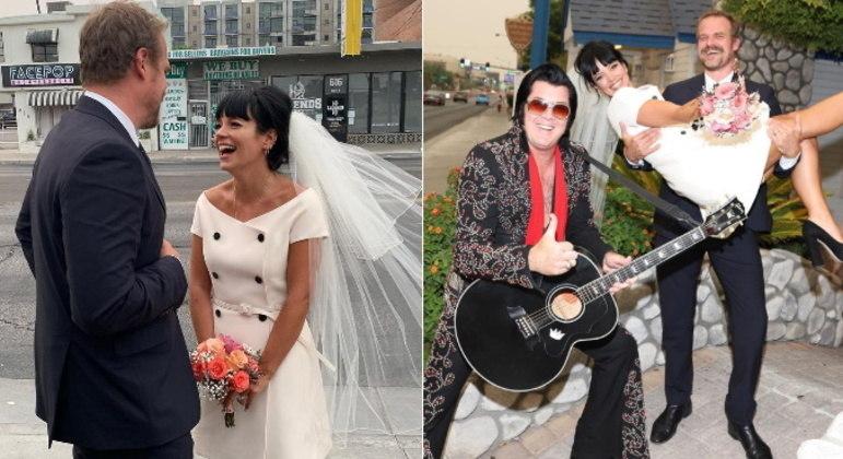 Lily Allen e David HarbourExistem diferentes tipos de casamentos intimistas. O escolhido por Lily Allen e David Harbour foi uma cerimônia em Las Vegas, com direito a sósia de Elvis Presley e lanches de um restaurante fast food depois do casamento
