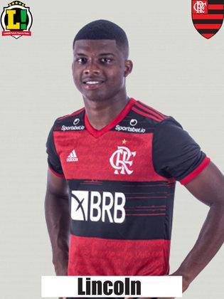 LINCOLN - 5,5 - Não chegou a ser efetivo na tentativa de levar o Flamengo à frente.