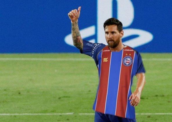 Lionel Messi com a camisa do Bahia