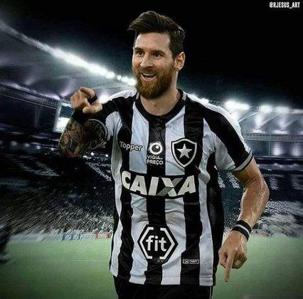 Lionel Messi com a camisa do Botafogo