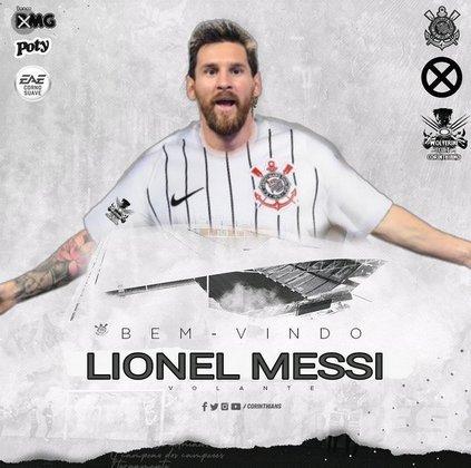Lionel Messi com a camisa do Corinthians