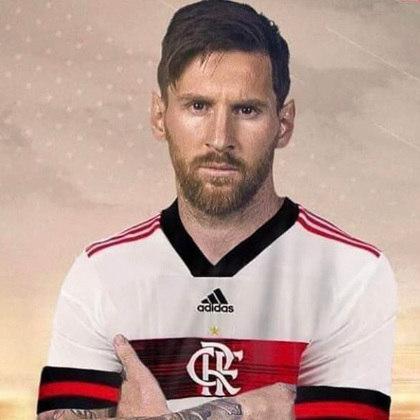 Lionel Messi com a camisa do Flamengo