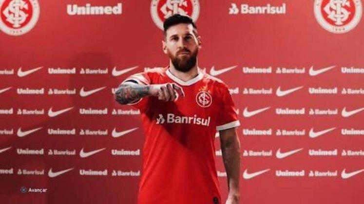 Lionel Messi com a camisa do Internacional
